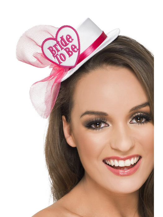 Bride To Be Clip On Hat White/Pink - The Ultimate Party Shop
