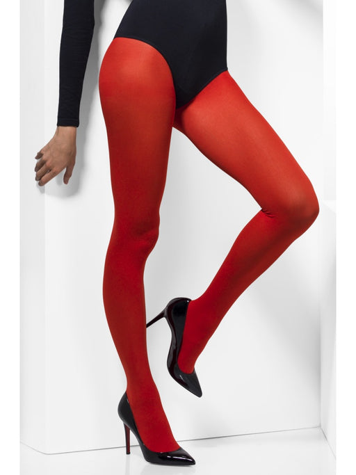 Opaque Coloured Tights - Red