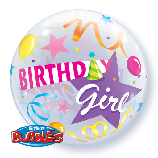 Qualatex Birthday Girl Bubble Balloon -  Bright - The Ultimate Party Shop