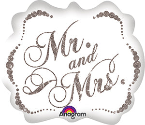 "25"" Foil Mr & Mrs Large Printed Balloon"
