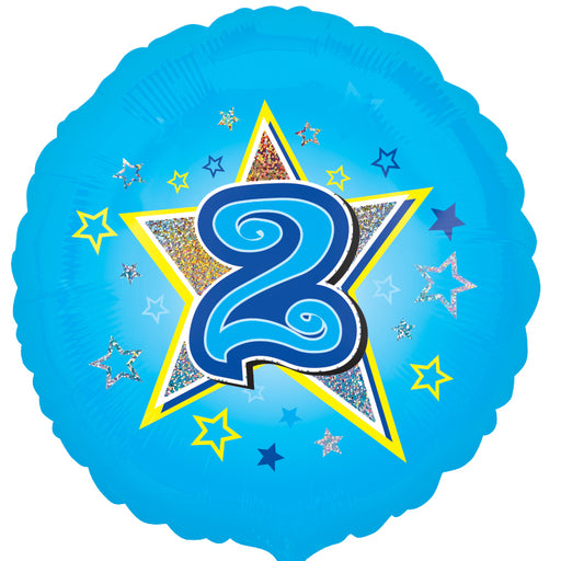 "18"" Foil Age 2 Blue Balloon - The Ultimate Party Shop"