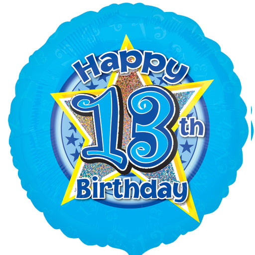 "18"" Foil Age 13 Blue Balloon. - The Ultimate Party Shop"