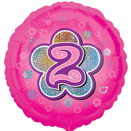 "18"" Foil Age 2 Pink Balloon. - The Ultimate Party Shop"