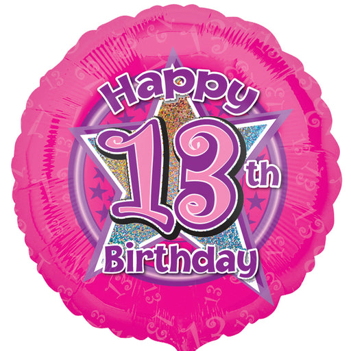 "18"" Foil Age 13 Pink Balloon. - The Ultimate Party Shop"