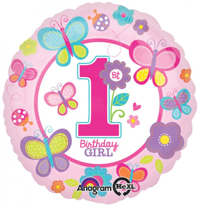 "18"" Foil 1st Birthday Girls Balloon. - The Ultimate Party Shop"