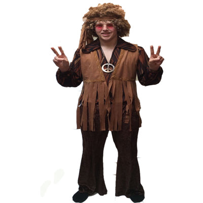 1960s/1970s Hippy Hire Costume - Brown - The Ultimate Party Shop