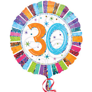 "18"" Foil Age 30 Rainbow Balloon - The Ultimate Party Shop"
