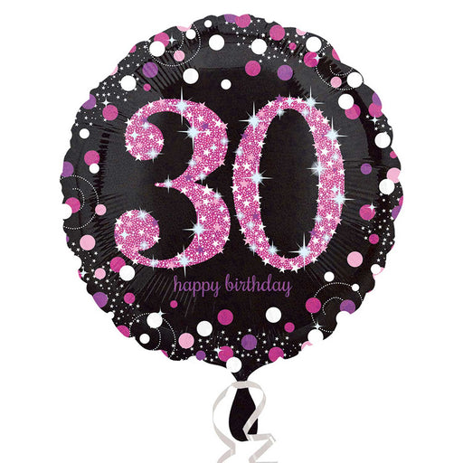 "18"" Foil Age 30 Black/Pink Dots Balloon - The Ultimate Party Shop"