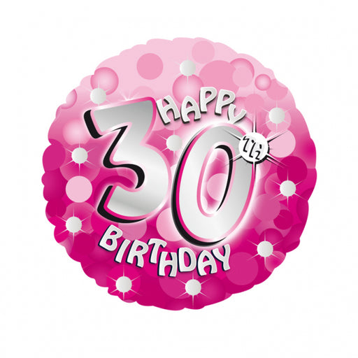 "18"" Foil Age 30 Pink Sparkle Balloon. - The Ultimate Party Shop"