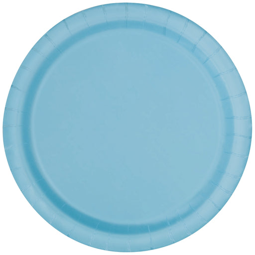 Round Paper Plates - Light Blue - The Ultimate Party Shop