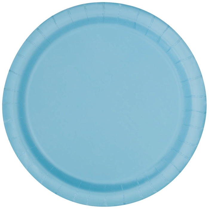 Round Paper Plates - Light Blue