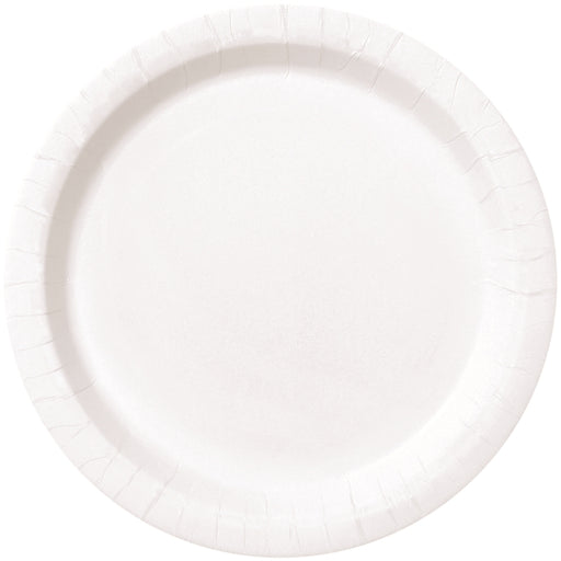Round Paper Plates - White - The Ultimate Balloon & Party Shop