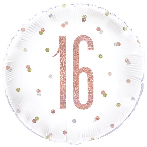"18"" Foil Age 16 Balloon - Rose Gold - The Ultimate Balloon & Party Shop"