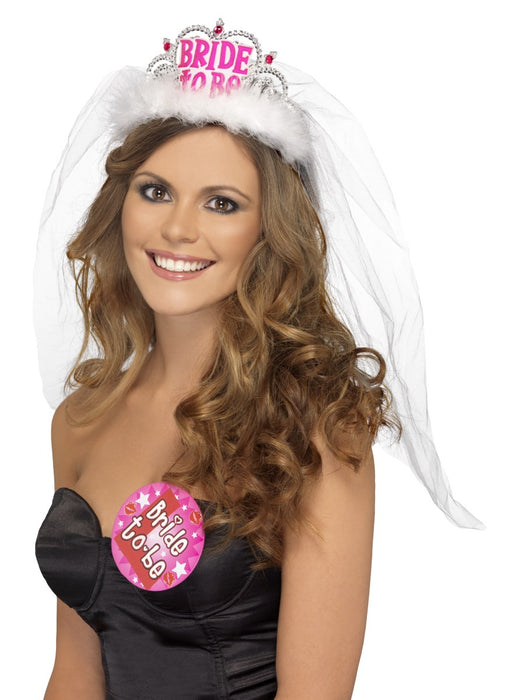 Bride To Be Tiara & Veil - White/Pink - The Ultimate Party Shop
