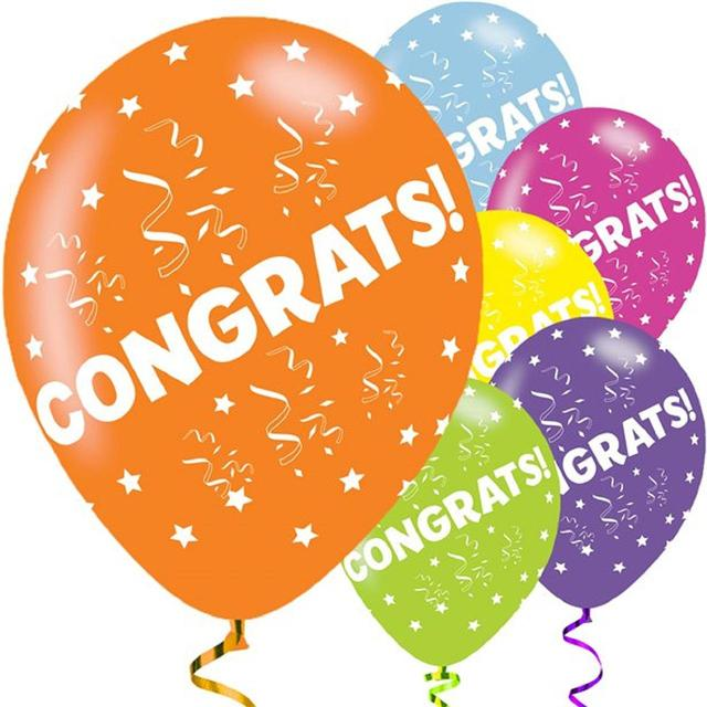 Congratulations Printed Asst Colour Balloons 6 Pack - The Ultimate Party Shop
