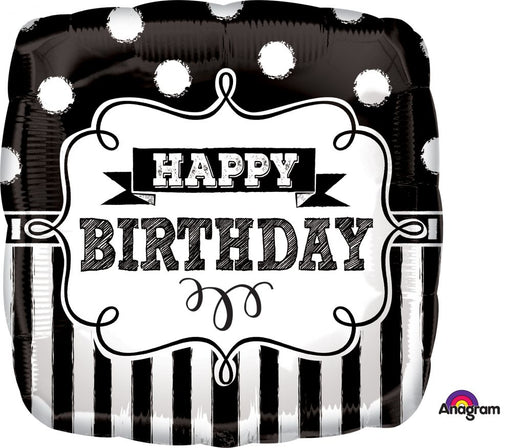 "18"" Foil Happy Birthday Black/White Square - The Ultimate Balloon & Party Shop"