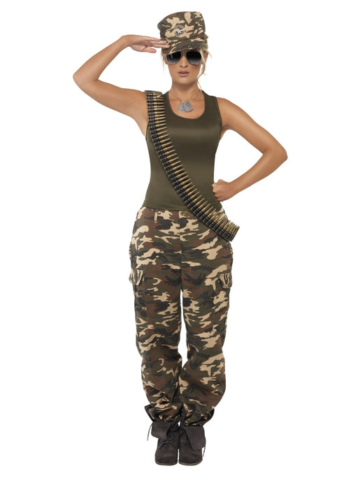 Khaki Camo Female Costume - The Ultimate Party Shop