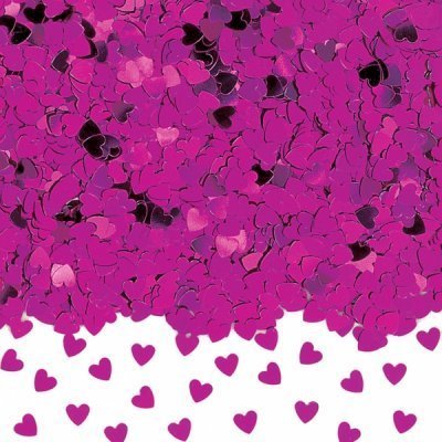 Hot Pink Sparkle Hearts Table Confetti