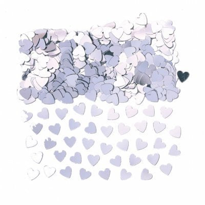 Silver Sparkle Hearts Table Confetti