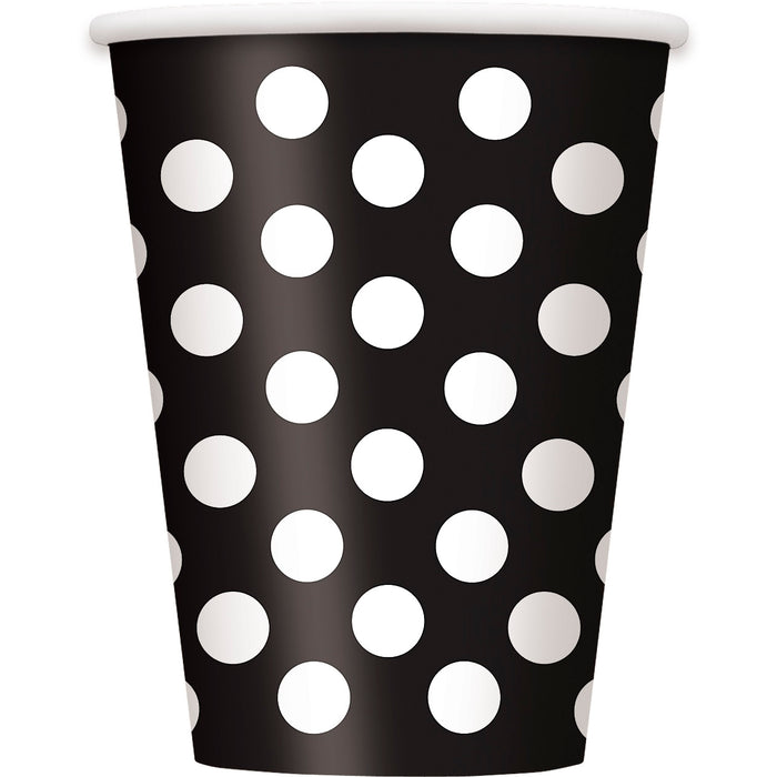 Spotty Paper Cups - Black - The Ultimate Balloon & Party Shop