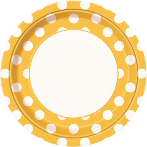 Round Spotty Plates - Yellow - The Ultimate Balloon & Party Shop
