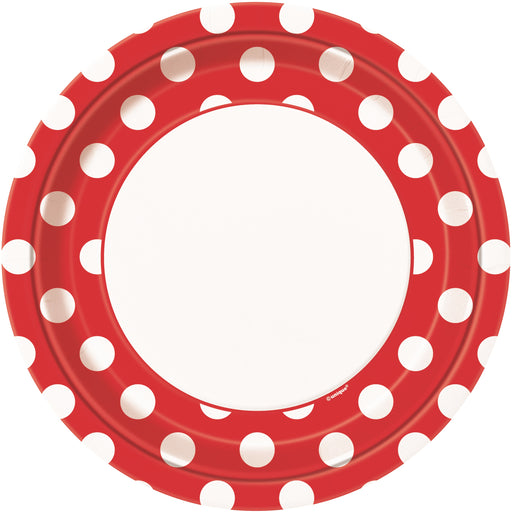 Round Spotty Plates - Red