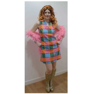1960s/1970s Checkered Dress - Pink, Green & Orange - The Ultimate Party Shop