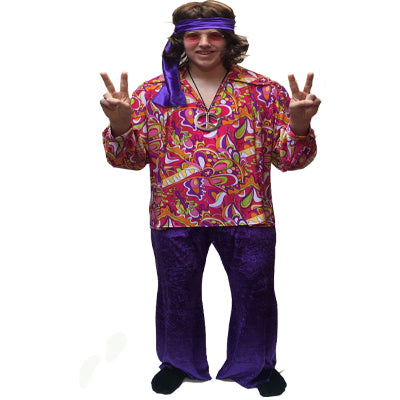 1960s/1970s Hippy Hire Costume - Flower CND - The Ultimate Party Shop