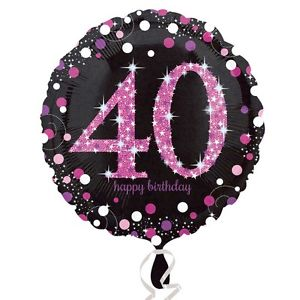 "18"" Foil Age 40 Black/Pink Dots Balloon - The Ultimate Party Shop"