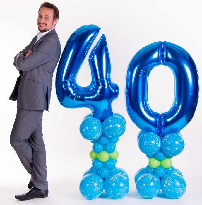 Giant number on alternate size pillars - The Ultimate Balloon & Party Shop
