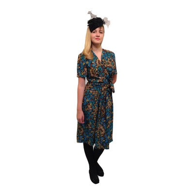 1940s Blue Flowered Dress & Hat Hire Costume - The Ultimate Party Shop