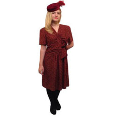 1940s Burgundy Flowered Dress & Hat Hire Costume - The Ultimate Balloon & Party Shop