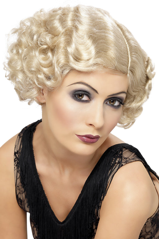 1920s Flirty Flapper Wig, Blonde, Short and Wavy.