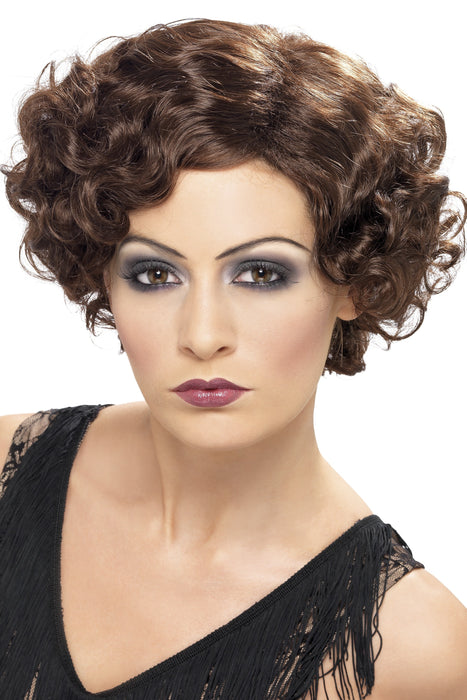 1920s Flirty Flapper Wig, Brunette, Short and Wavy.