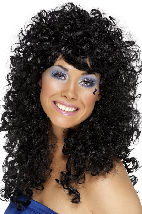 1980s Boogie Babe Wig, Black - The Ultimate Balloon & Party Shop