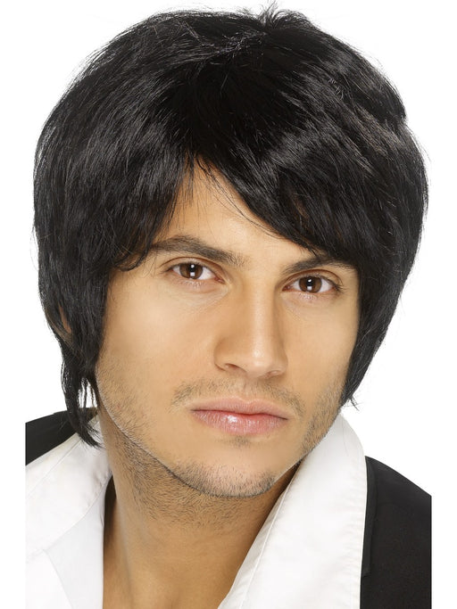 Boy Band Male Black Wig