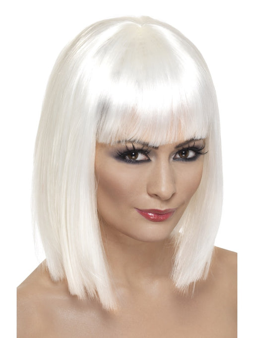 Glam White Female Wig - The Ultimate Party Shop