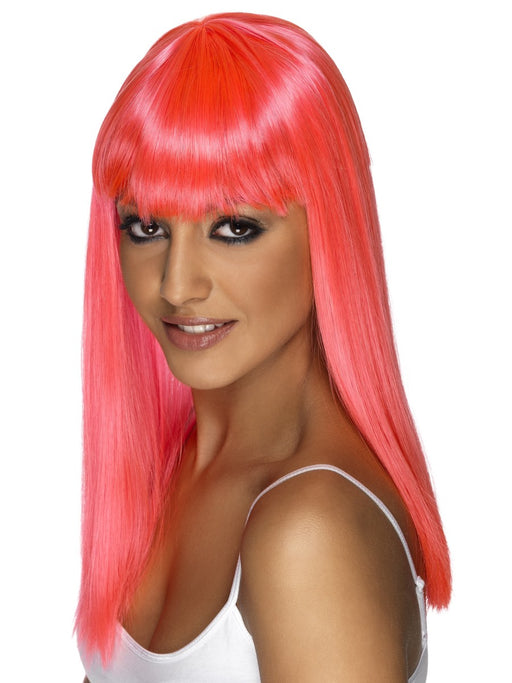 Glamourama Neon Pink Female Wig - The Ultimate Party Shop