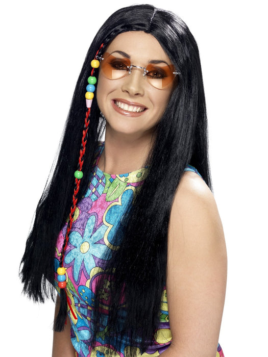 Hippie Party Black Wig