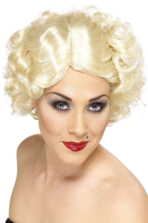1920s Hollywood Icon Wig, Blonde, With Short Curls.