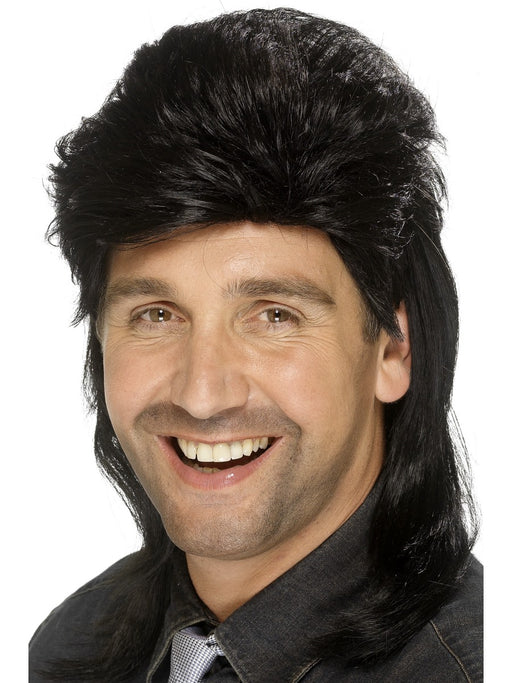 1980's Mullet Black Wig - The Ultimate Party Shop