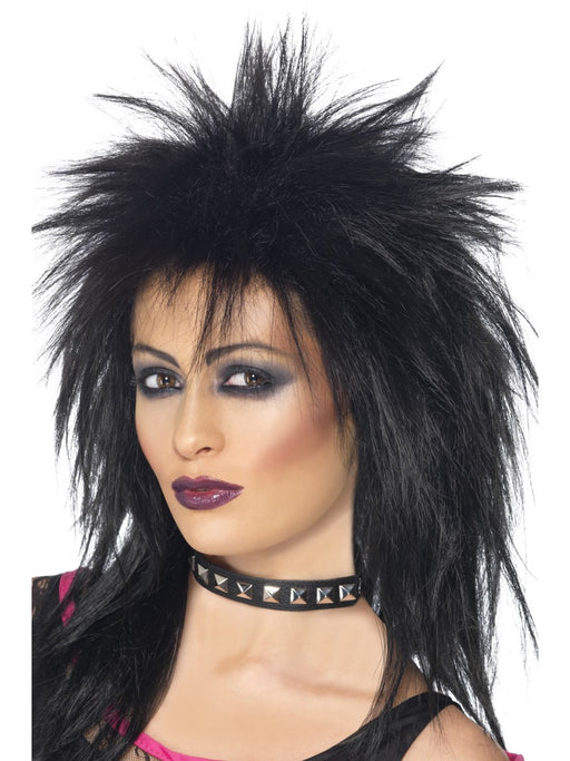 1980's Rock Diva Black Wig - The Ultimate Party Shop
