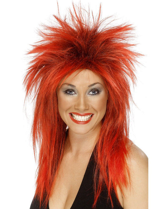 1980's Rock Diva Red Wig - The Ultimate Party Shop