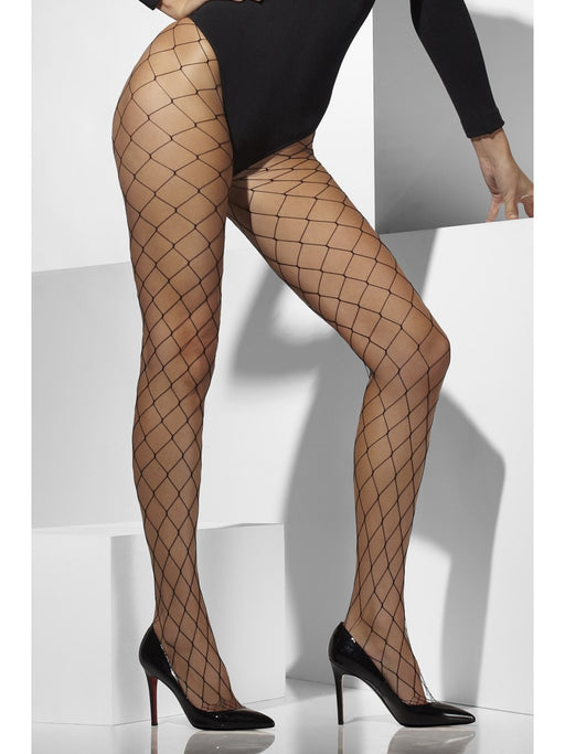 Diamond Fishnet Tights - Black - The Ultimate Party Shop