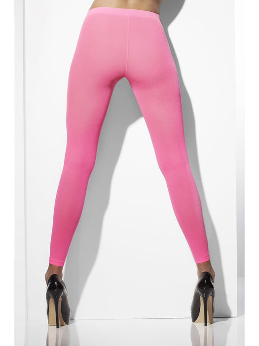 Neon Opaque Footless Tights - Pink