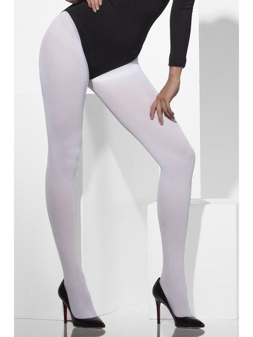 Opaque Coloured Tights - White - The Ultimate Party Shop