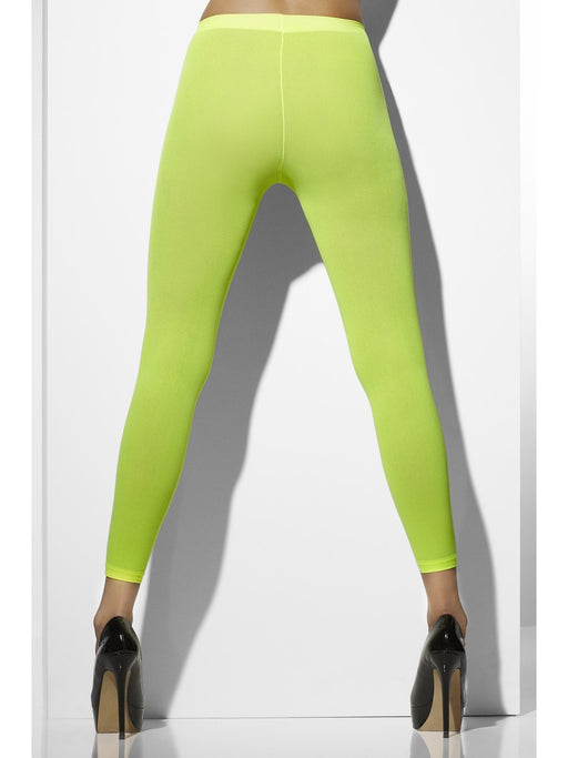 Neon Opaque Footless Tights - Green - The Ultimate Party Shop