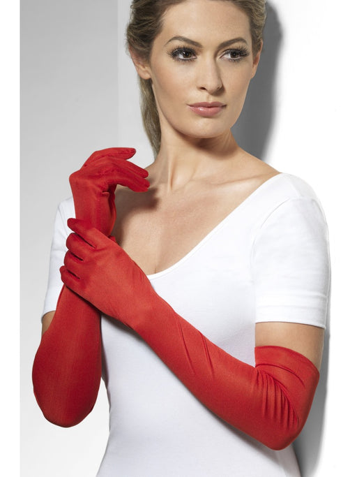 Long Evening Style Gloves - Red