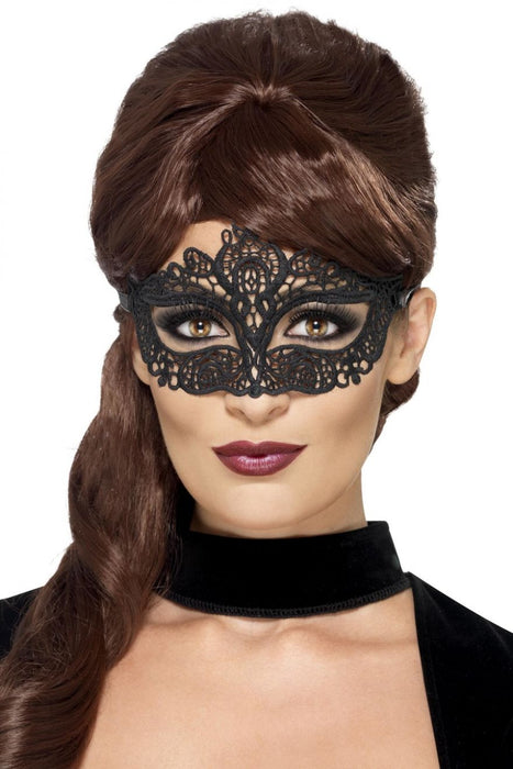 Embroidered Lace Filigree Eyemask - Black - The Ultimate Balloon & Party Shop