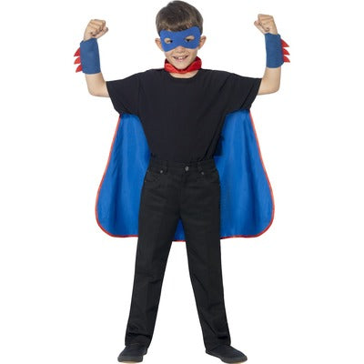 Superhero Cape Red & Blue Children's Costume - The Ultimate Party Shop